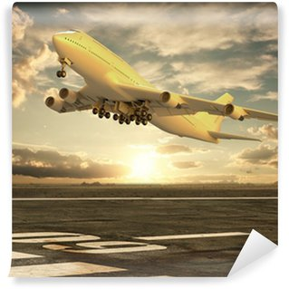 Vinylová Fototapeta Letadlo vzlétne při západu slunce