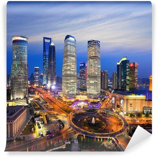 Vinylová Fototapeta Letecký pohled na Šanghaj panorama v noci