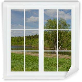 Vinylová Fototapeta Letní krajina za oknem. 3D obrázek