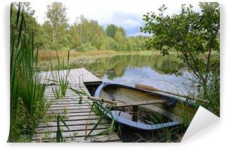 Vinylová Fototapeta Letní rybaření ve švédském jezeře