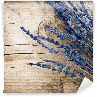 Vinylová Fototapeta Levandule přes dřevo background.With copy-space