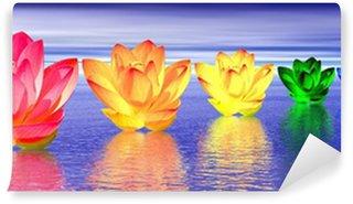 Vinylová Fototapeta Lily květiny čakry v noci