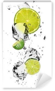 Vinylová Fototapeta Limes s kostkami ledu, izolovaných na bílém pozadí
