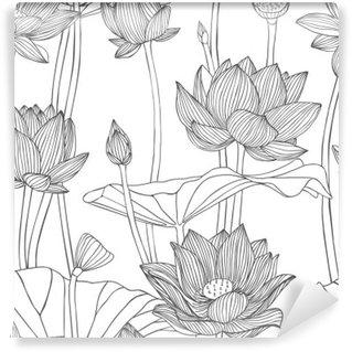 Vinylová Fototapeta Lineární bezešvé vzor - lotosový květ.
