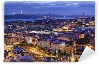 Vinylová Fototapeta Lisabon, Portugalsko Skyline v noci