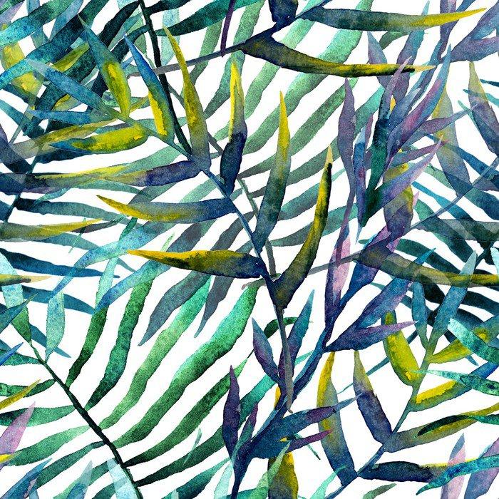 Vinylová Fototapeta Listy abstraktní vzor pozadí tapety akvarel - Vinylová Fototapeta