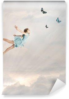 Vinylová Fototapeta Little Girl Flying at Twilight