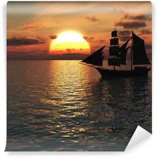 Vinylová Fototapeta Loď na moři při západu slunce.