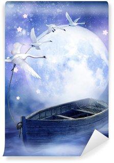 Vinylová Fototapeta Loď na obloze vytáhl labutěmi