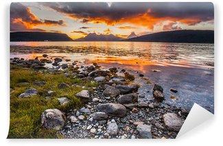 Vinylová Fototapeta Lofoten Norsko fjord při západu slunce
