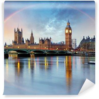Vinylová Fototapeta Londýn s duhou - Houses of Parliament - Big Ben.
