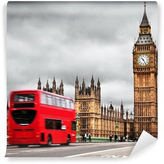 Fototapeta Winylowa Londyn, uk. czerwony autobus w ruchu i Big Ben