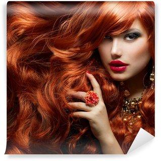 Vinylová Fototapeta Long Curly Red Hair. Módní žena portrét