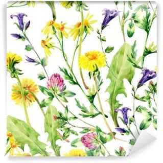 Vinylová Fototapeta Louka akvarel divoké květiny bezešvé vzor