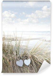 Vinylová Fototapeta Love srdce na písečné duny v létě