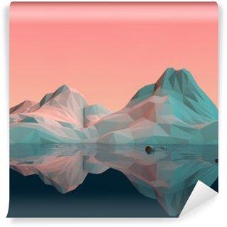 Fototapeta Winylowa Low-Poly 3D krajobraz górski z wodą i refleksji