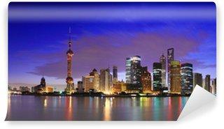 Vinylová Fototapeta Lujiazui Finance & Trade Zone Shanghai mezník panorama za úsvitu