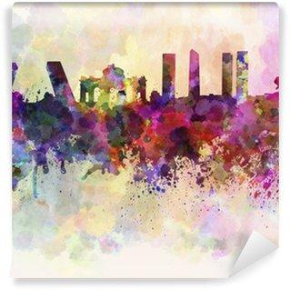 Vinylová Fototapeta Madrid panorama v akvarelu pozadí