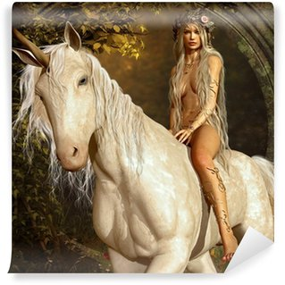 Vinylová Fototapeta Maiden a Unicorn