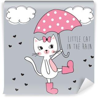 Vinylová Fototapeta Malá kočka v dešti vektorové ilustrace