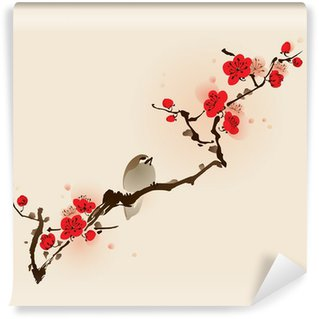 Fototapeta Winylowa Malarstwo styl orientalny, kwiat śliwy na wiosnę