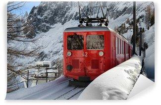 Vinylová Fototapeta Malebná horská vlak ve sněhu