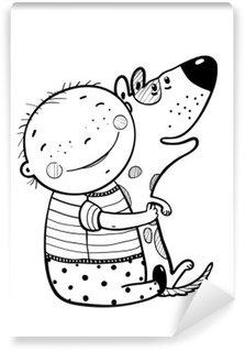 Vinylová Fototapeta Malý chlapec Hugs psa Nejlepší Šťastný Přátelé Nástin