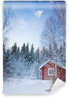 Vinylová Fototapeta Malý dřevěný dům v zimě lese