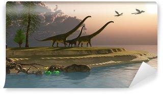 Fototapeta Winylowa Mamenchizaur Dinosaur Morning