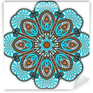Fototapeta Winylowa Mandala, okrąg dekoracyjny duchowy indyjski symbol przepływu lotosu