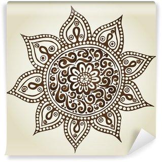 Fototapeta Winylowa Mandala. Okrągły ornament. Ozdobne kwiaty.