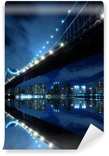 Vinylová Fototapeta Manhattan Bridge At Night Lights, New York City