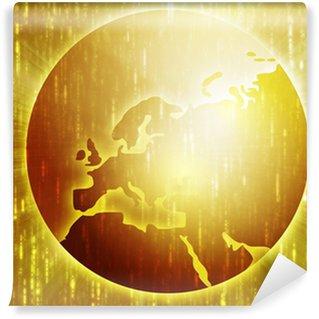 Fototapeta Winylowa Mapa Europy, na sferycznej kuli ziemskiej, kartograficzne