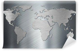 Vinylová Fototapeta Mapa světa na kovovou desku