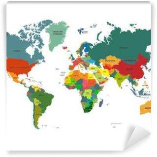 Vinylová Fototapeta Mapa světa s názvy zemí na bílém pozadí. Vektorové ilustrace.