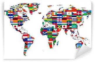 Vinylová Fototapeta Mapa světa s vlajkami