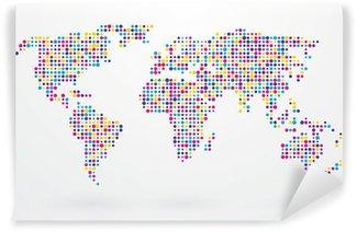 Vinylová Fototapeta Mapa světa složená z malých barevných teček