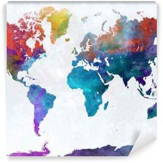 Vinylová Fototapeta Mapa světa v akvarel