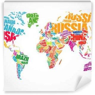 Vinylová Fototapeta Mapa světa v typografie slovo mrak pojetí, názvy zemí
