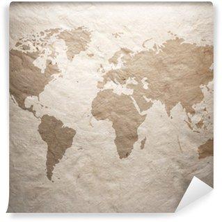 Fototapeta Vinylowa Mapa świata wyświetlany na starym papieru falistego