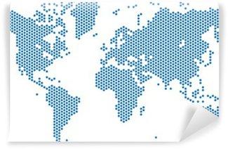 Vinylová Fototapeta Mapa tečky světa na bílém pozadí, vektorové ilustrace.