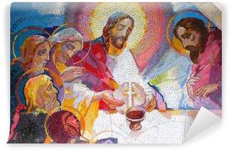 Vinylová Fototapeta Medjugorje, Bosna a Hercegovina, 6.5.2016. Mozaika eucharistie při Poslední večeři od Ježíše Krista jako pátý Luminous tajemství.