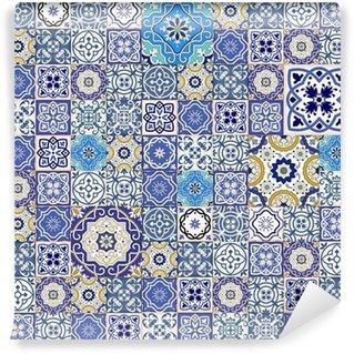 Vinylová Fototapeta Mega bezešvé patchwork vzor z barevných dlaždic marocké