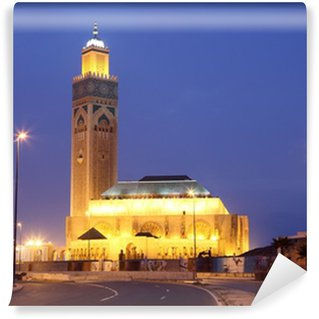 Vinylová Fototapeta Mešita Hassana II v noci. Casablanca, Maroko