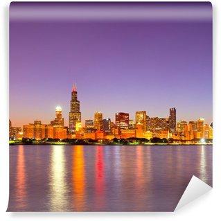 Vinylová Fototapeta Město Chicago USA, západ slunce barevné panorama panorama