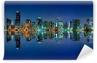 Vinylová Fototapeta Miami Skyline v noci