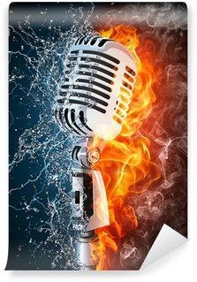 Vinylová Fototapeta Mikrofon na oheň a voda