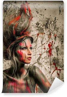 Vinylová Fototapeta Mladá žena múza s kreativní zdobení těla a účes