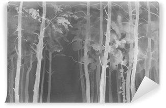 Vinylová Fototapeta Mlhavé lesní noc akvarel pozadí