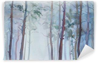 Vinylová Fototapeta Mlžný les akvarel pozadí